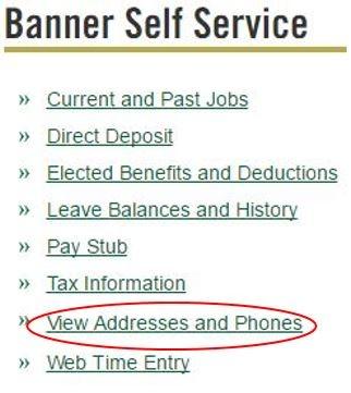 screenshot of banner self service menu in my unc charlotte